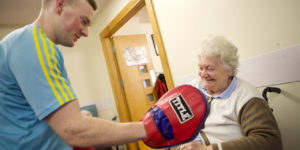exercise, fitness class for seniors, boxing